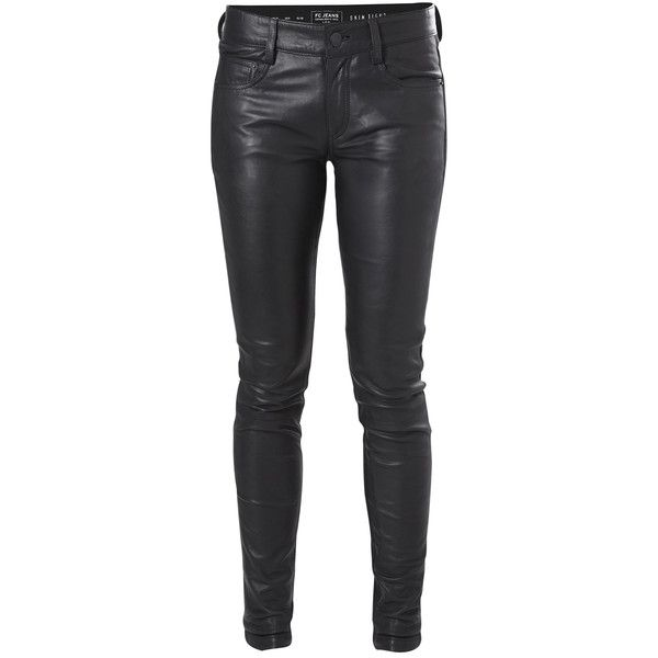 French Connection Block Leather Jeans ($368) ❤ liked on Polyvore