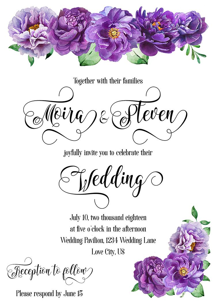 Purple Flowers Wedding Invitation In 2018 Wedding Color Trends