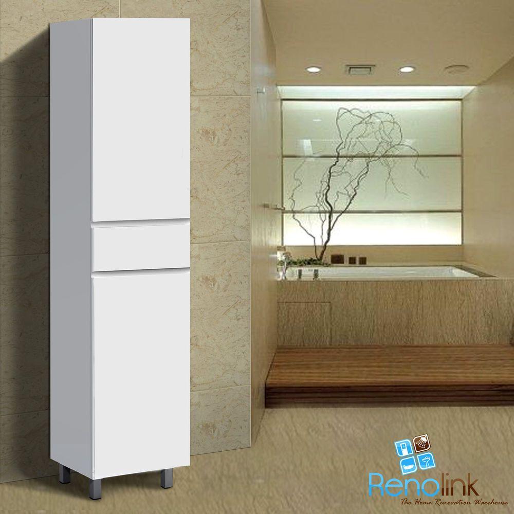 Ivana 400x400mm White Gloss Bathroom Vanity Tall Boy Cabinet Wall Hung Legs Mdf Bathroom Wall Hanging Bathroom Tallboy Bathroom