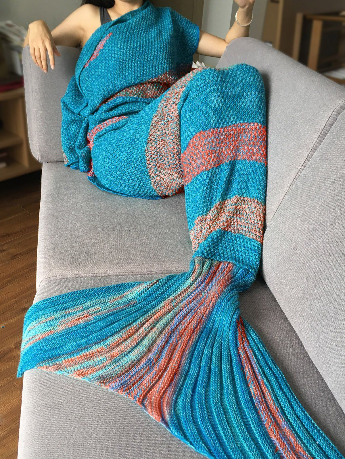 Sleeping Bag Crochet Stripe Pattern Mermaid Tail Blanket | Pinterest ...
