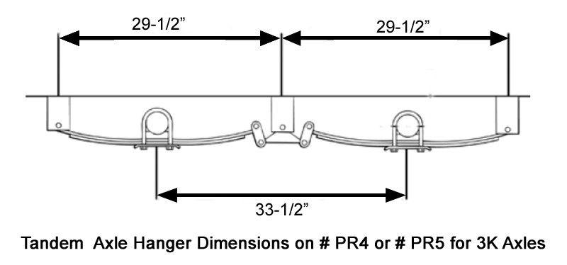 hanger spacing for 4-leaf springs # pr4 on tandem axle trailer