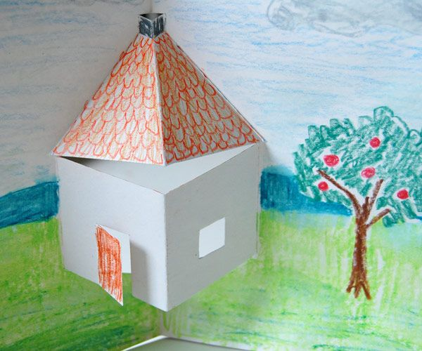 This Is A Super Easy Pop Up House Which A Child Can Easily Make With One Piece Of Paper And A Pair Of Scissors Pop Up Card Templates Pop Up Art