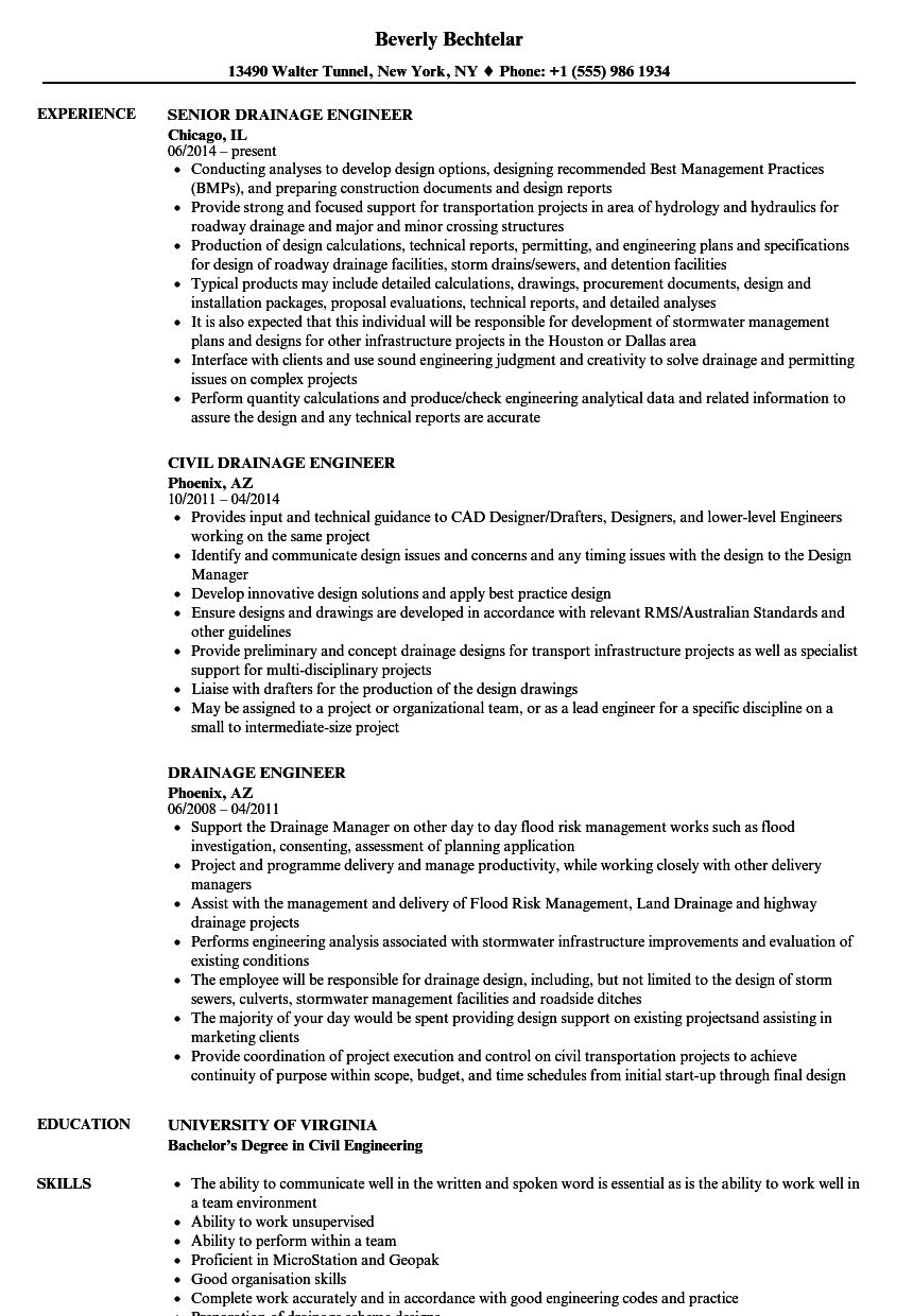 The Excellent Drainage Engineer Resume Samples Velvet Jobs In Drainage Report Template Photo Below Is Resume Examples Security Resume Project Manager Resume
