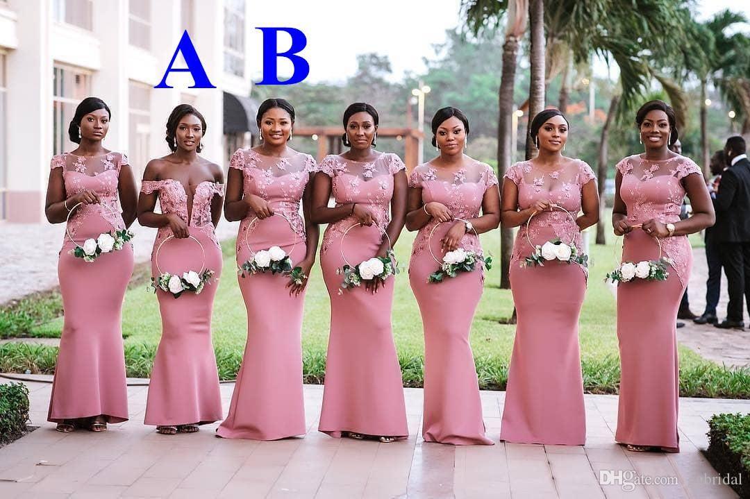 African nigeria pink mermaid bridesmaid dress sheer neck