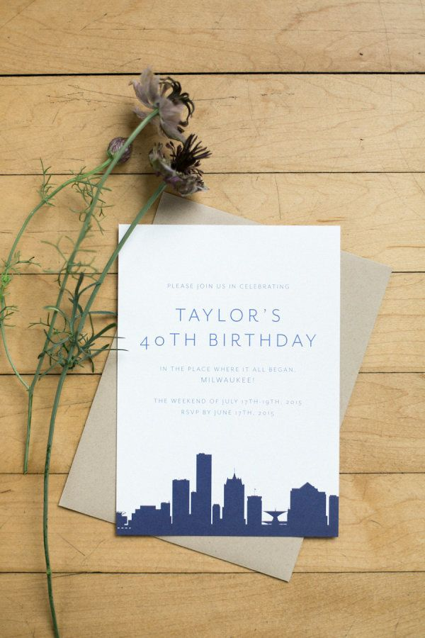 Love These Skyline Birthday Party Invitations For Your Big Milestone