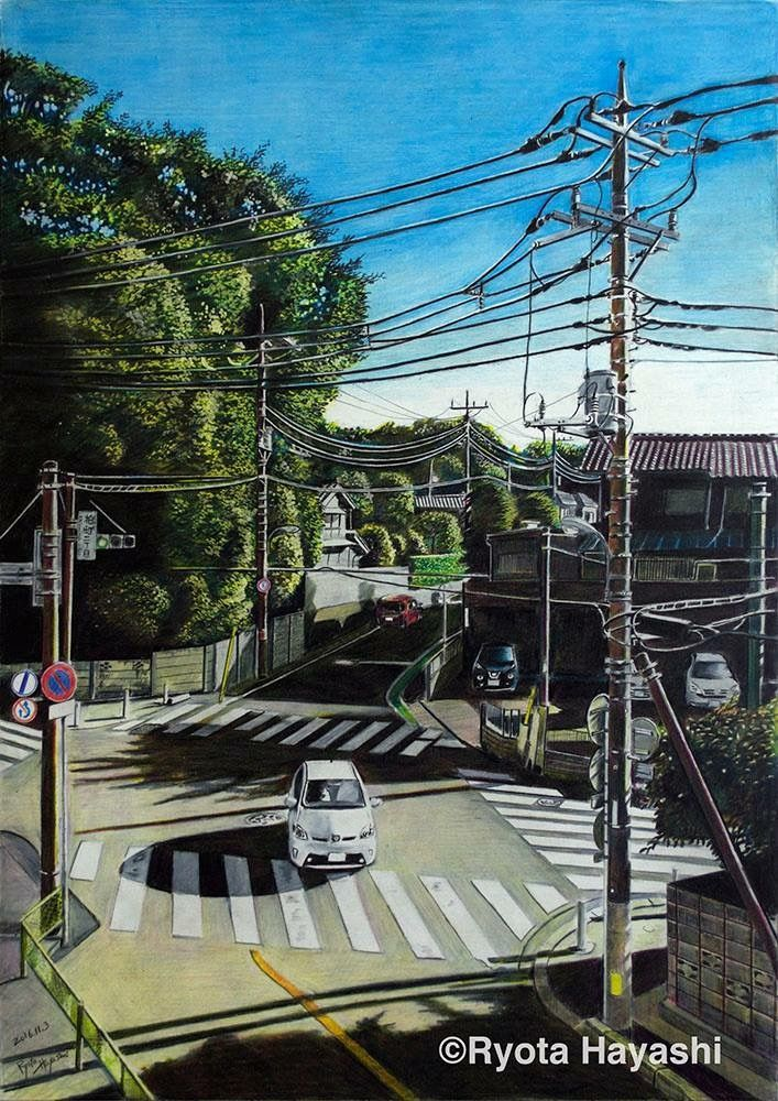 Pencil painting scenery drawing pencil japanese artists colored pencils cartoon city japanese illustration anime scenery street view paper art
