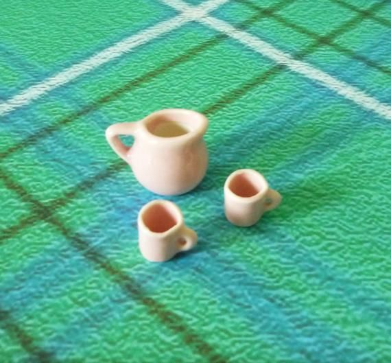 Miniature jug cup set ceramic -mini side pitcher jugs -cute kitchen ware Miniature kitchen tools/ fairy house decor supply #miniaturekitchen