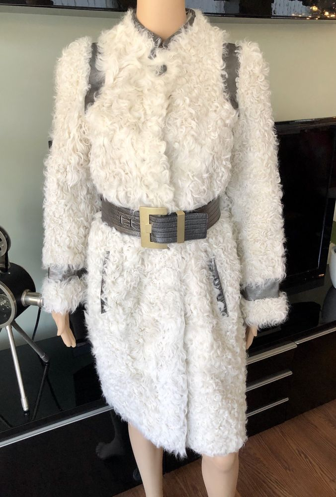 79d35c75b EMILIO PUCCI Leather Trim Lamb Fur Coat Jacket Creme and metallic ...