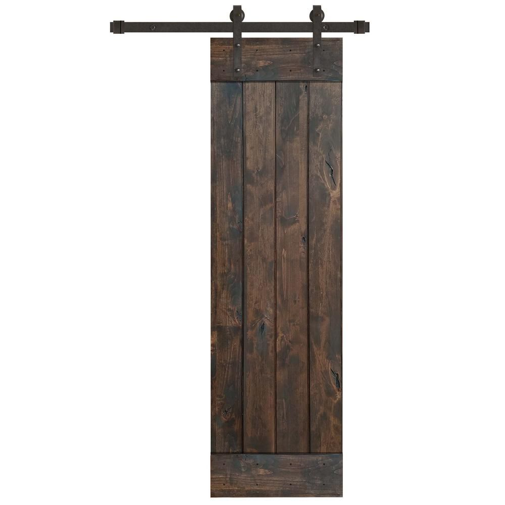 Pacific Entries 24 In X 84 In Rustic Espresso 1 Panel Knotty Alder Sliding Barn Door Kit With Oil Rubbed Bronze Hardware Kit Brown Door Kits Sliding Door Hardware