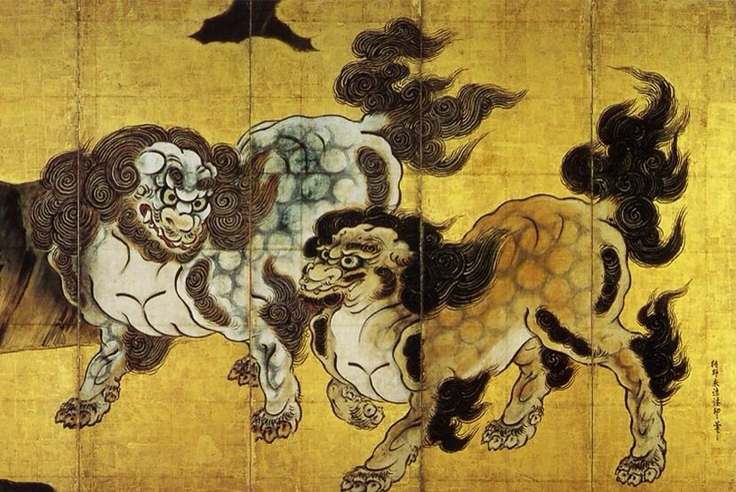 Chinese Lions (detail), 16th century, by Kanō Eitoku (1543–1590). Six-fold screen; colour, ink and gold-leaf on paper