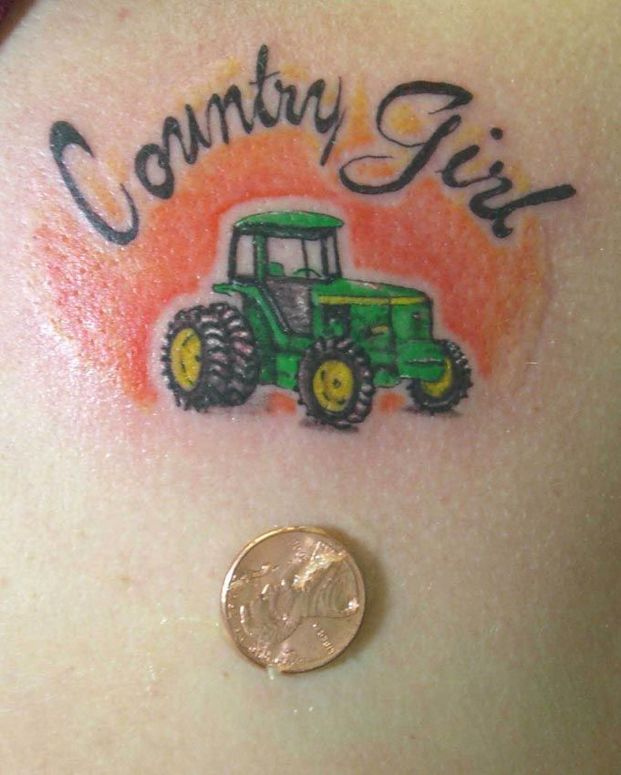 Color Tattoosthumbsthumbs Country Girl Tattoo By Larry Farley...I like it but the tractor is the wrong color!!  (should be red!)