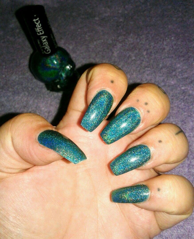 BlackHeart Galaxy Effect Nail Polish in Teal Galaxy Acrylics and ...