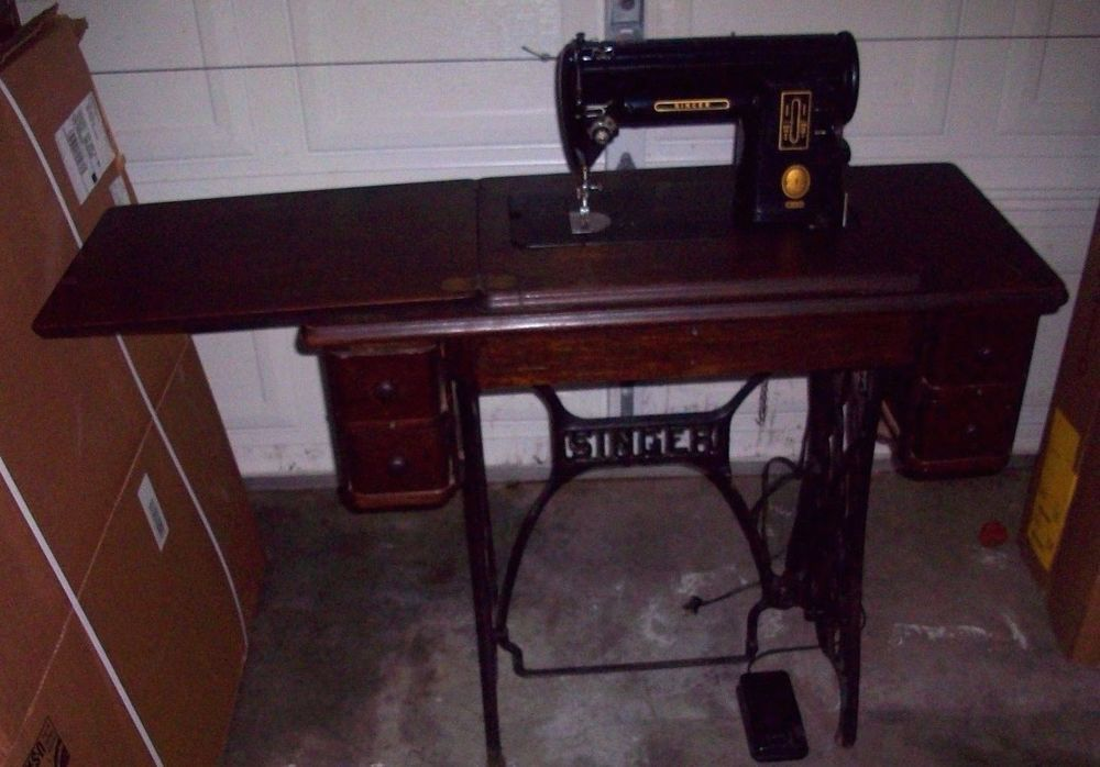 40's Vintage Singer Sewing Machine 40 Cast Iron Wood Cabinet Interesting Antique Electric Singer Sewing Machine In Cabinet