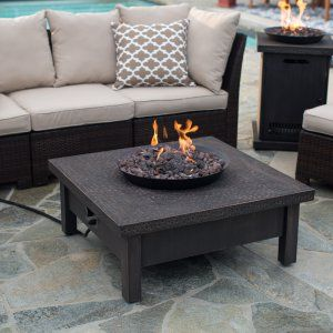 Red Ember Glacier Stone 35 In Square Gas Fire Pit