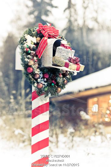 Photo Of Mailbox Decorated For Christmas With Wreath And