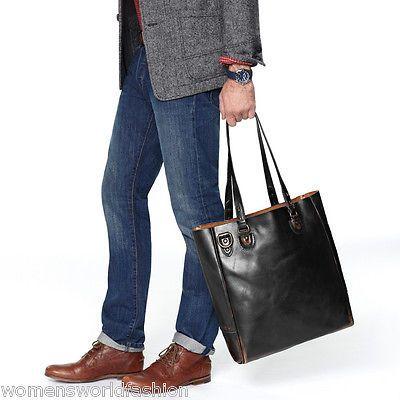 Fossil Men Black Leather Handbag Edition Utility Bag Tote ...
