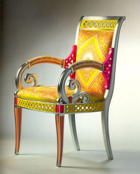 Gentil Vanitas II Armchair (Versace): Bright, Lively Colors For This New Version Of