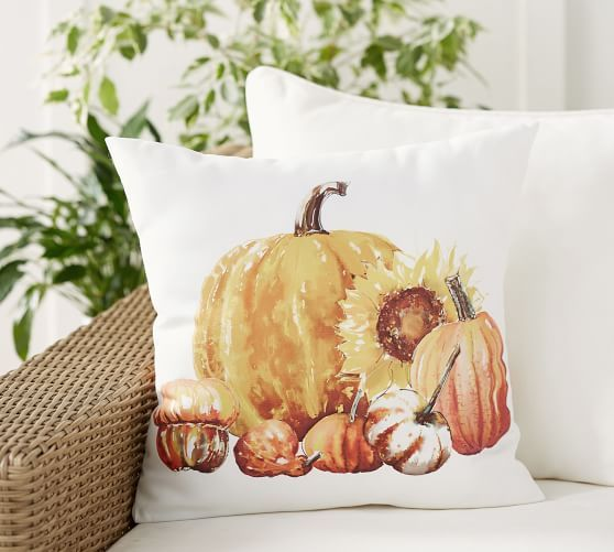 Pumpkin Sunflower Indoor Outdoor Pillow