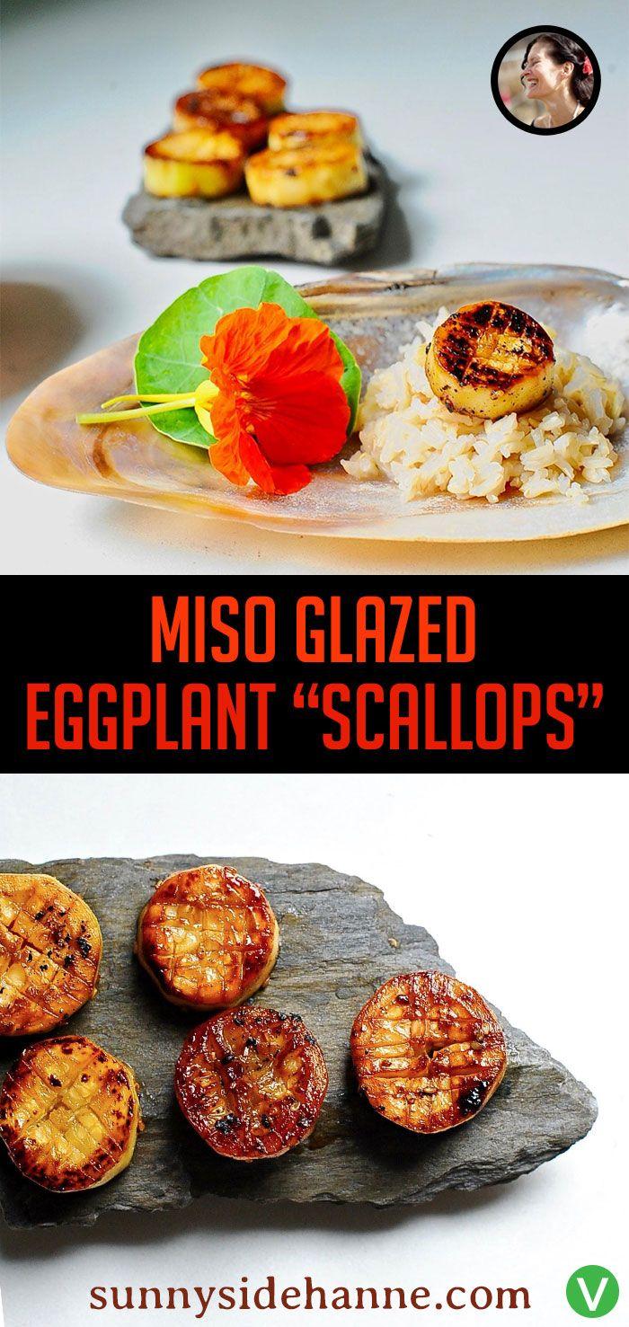 Miso Glazed Eggplant Scallops Vegan