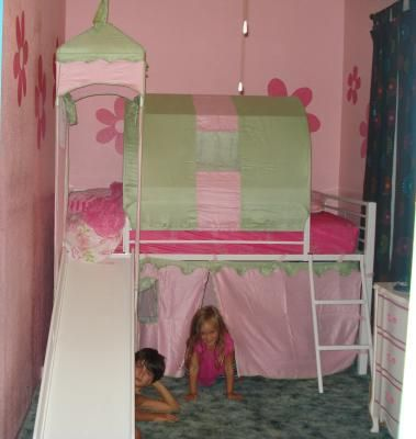 Girlu0027s Castle Tent Loft Bed w/ Slide u0026 Under Bed Storage White Featured & Girlu0027s Castle Tent Loft Bed w/ Slide u0026 Under Bed Storage White ...