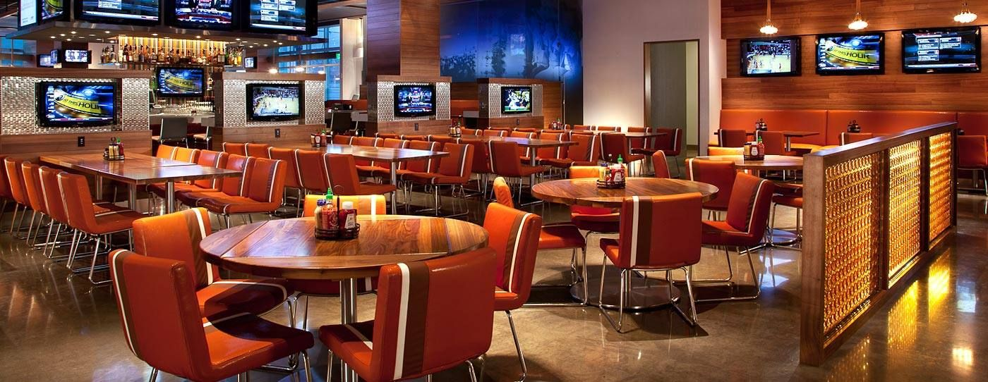 High tech sports lounge at the JW Marriott Indianapolis