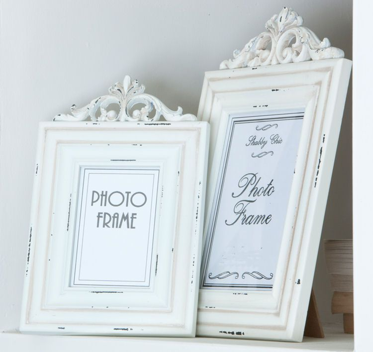 white wooden antique style photo frame small