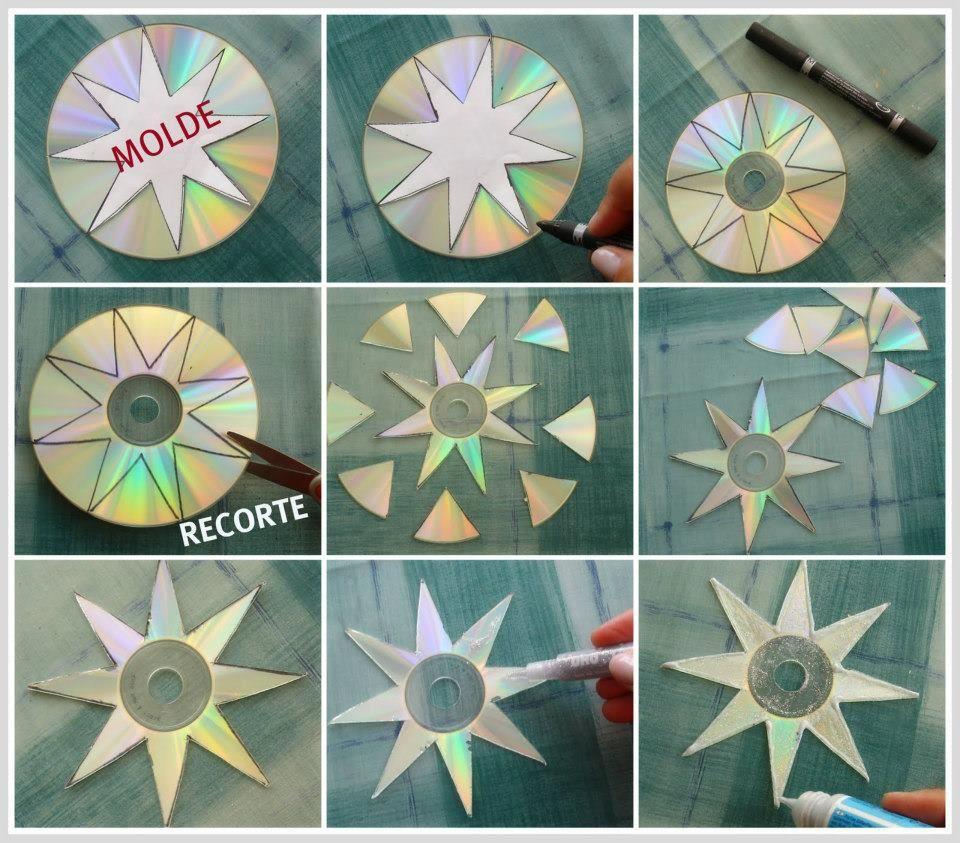 Enfeite de árvore de natal reciclando CD