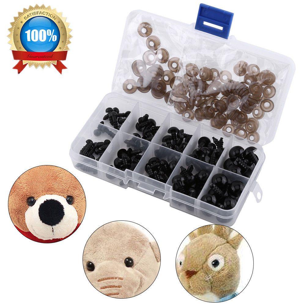 100x Teddyaugen Sicherheitsaugen Kunststoffaugen Puppe Augen 6