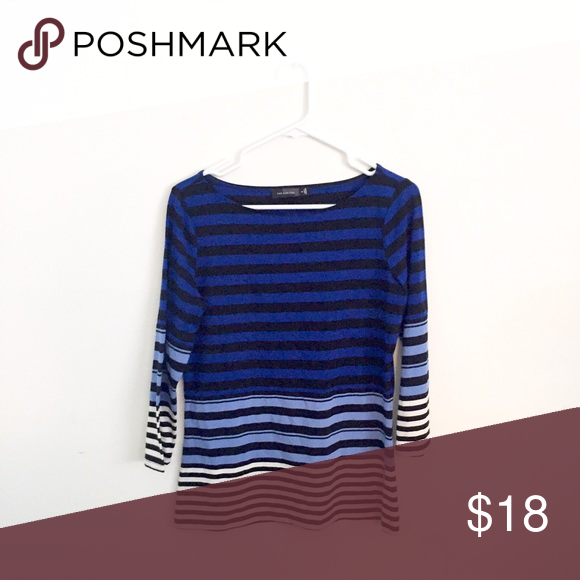 Blue Striped Top Different shades of blue striped top from The Limited. In excellent condition. The Limited Tops