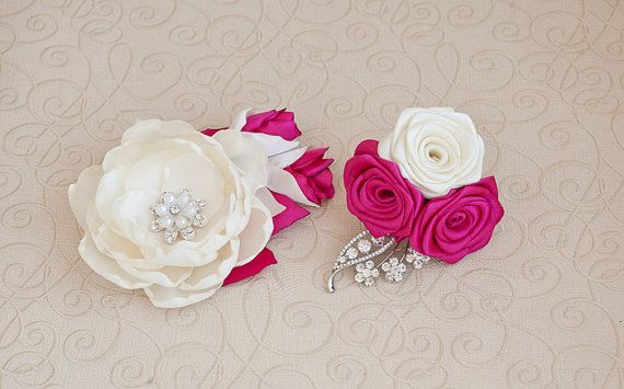 Ready to ship Ivory Hot Pink and Silver Bridal by MagnoliaHandmade