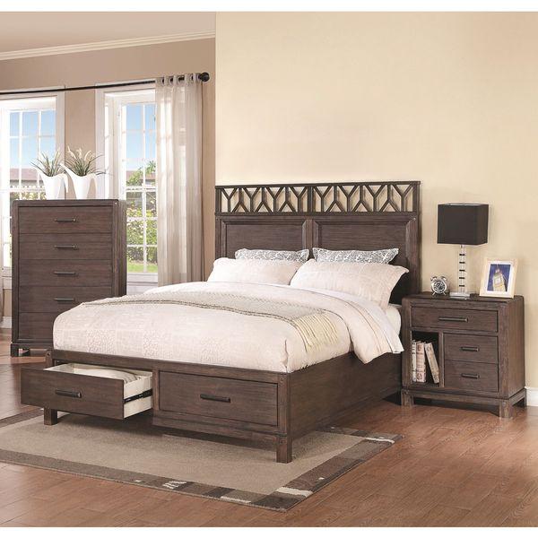 Pinecrest Wire Brushed Dark Black 3 Piece Bedroom Set