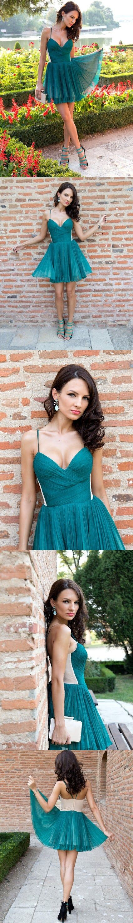 Cheap homecoming dresses spaghetti straps aline short prom dress