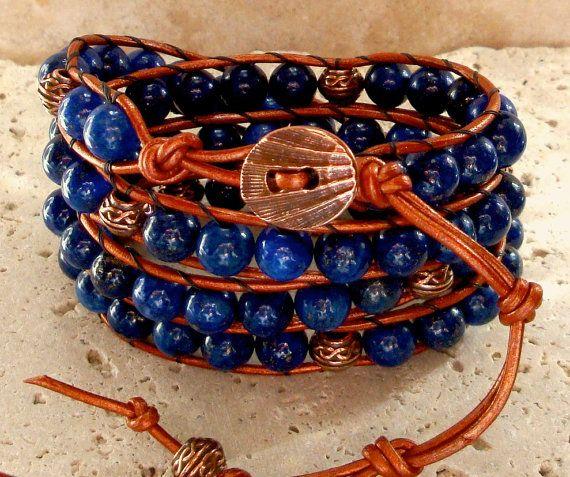 Egyptian Lapis Lazuli & Copper Handmade Beaded Leather 4-Wrap Bracelet