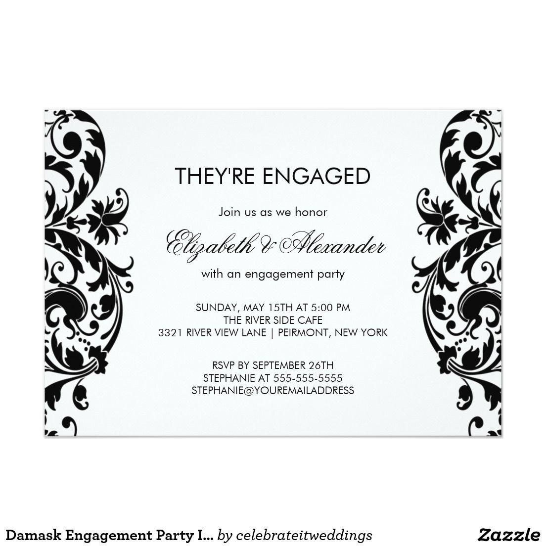 Damask Engagement Party Invitations Black & White | Wedding ...