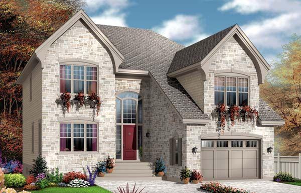House Plan 65550   European    Plan with 2527 Sq. Ft., 4 Bedrooms, 4 Bathrooms, 1 Car Garage
