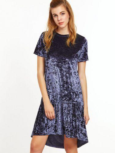 Purple Ruffle Trim High Low Velvet Dress