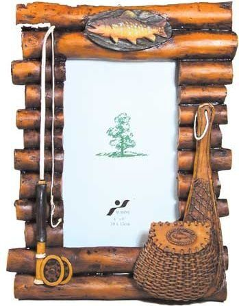 Rustic Wood Log Photo Frame With Fishing Theme Accents 4x6 Vertical By Wd Cute Picture Frames Wood Logs Rustic Wood