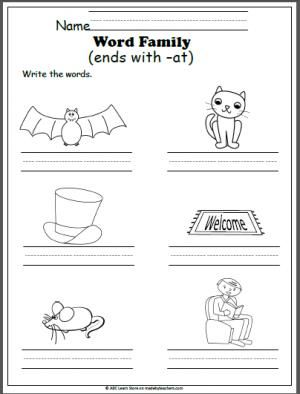 Free Word Family -at Worksheet. Look at the pictures and write the ...