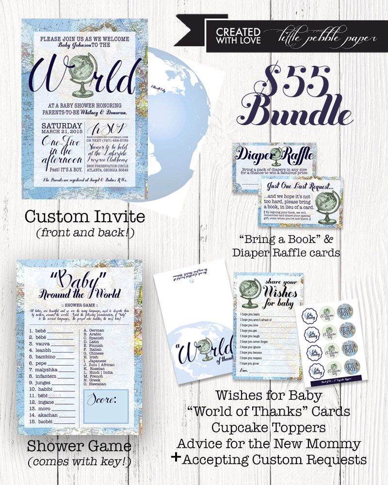 Welcome to the World Party Pack, Bundle, Welcome to the World Baby Shower, Boy Meets World, Invitation, Wishes, Diaper Raffle, Baby Shower by LittlePebblePaper on Etsy https://www.etsy.com/listing/237383791/welcome-to-the-world-party-pack-bundle