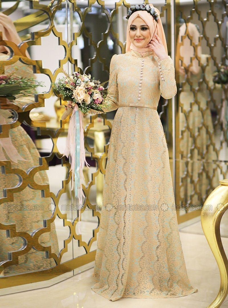 bade abiye elbise - mint yeşili - minel aşk | vestidos