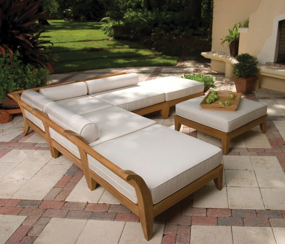 Backyard Patio Ideas : Patio Furniture Elegant Wood Patio Furniture Kits  With Large Square Seat Cushions