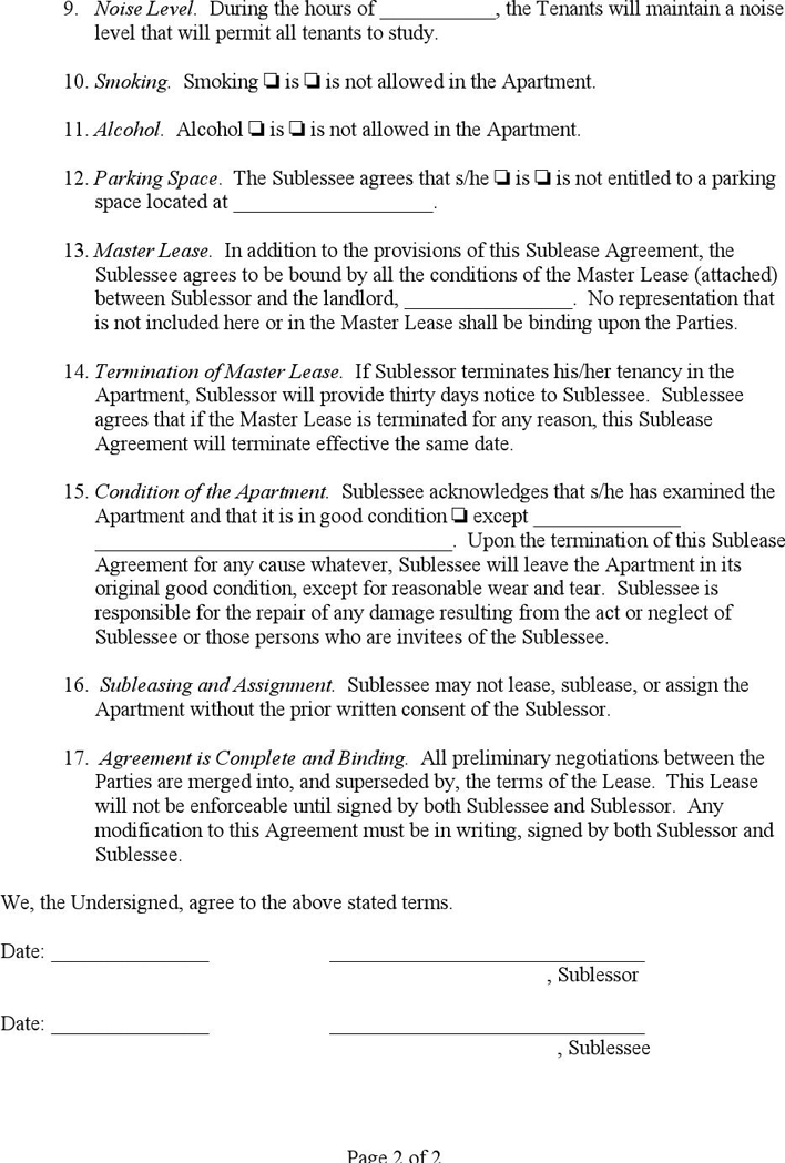 Sublease Agreement Download Free Printable Rental Legal