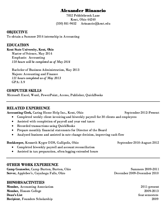 Internship Accounting Resume Sample - Http://Resumesdesign.Com