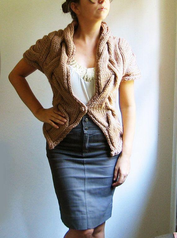 hand knit cardigan vest RITA  in dark camel Ready to by ovejanegra, $130.00