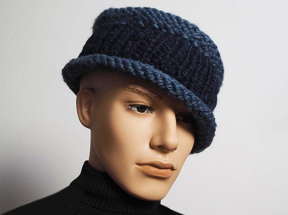 dec5414c355 Men s navy blue knit fedora Ready to ship by TheMastHatter