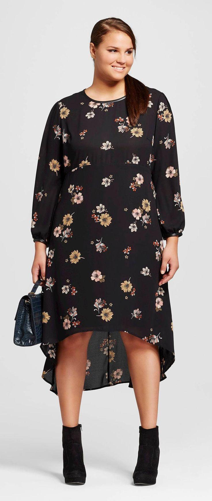 plus size long sleeve crepe dress | look, looks, vestidos