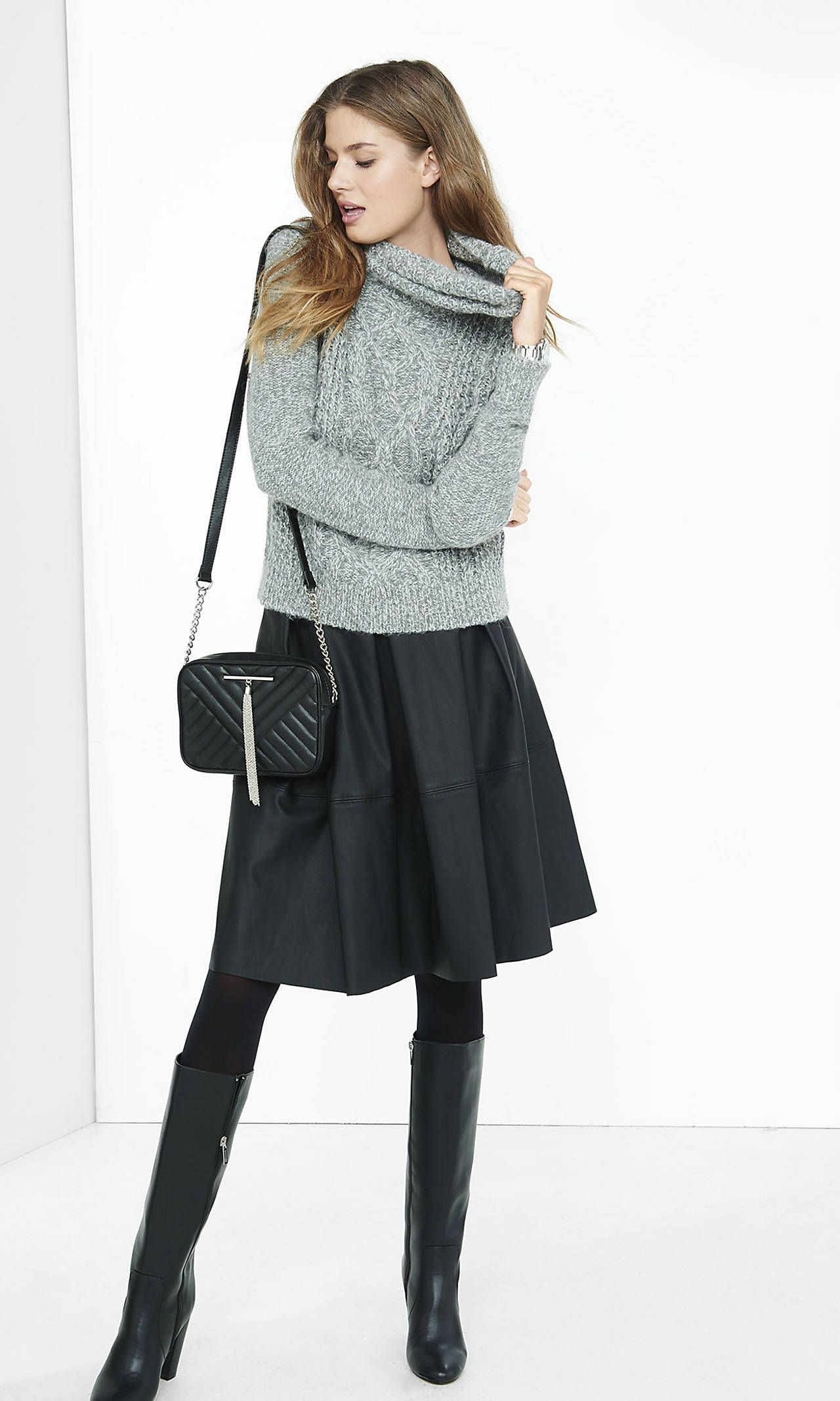 Marl Cowl Neck Cable Knit Sweater Women Sweaters Winter Express Outfits Cable Knit Sweaters