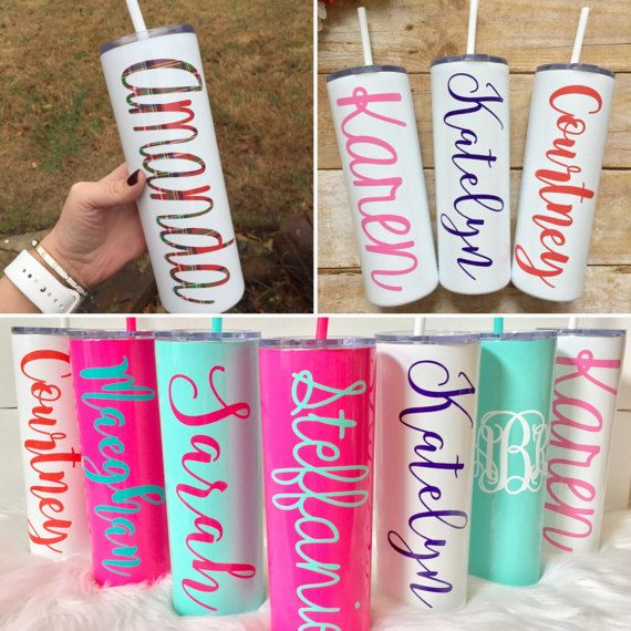 White stainless steel tumbler with straw skinny tumblers personalized powdercoated teacher appreciation
