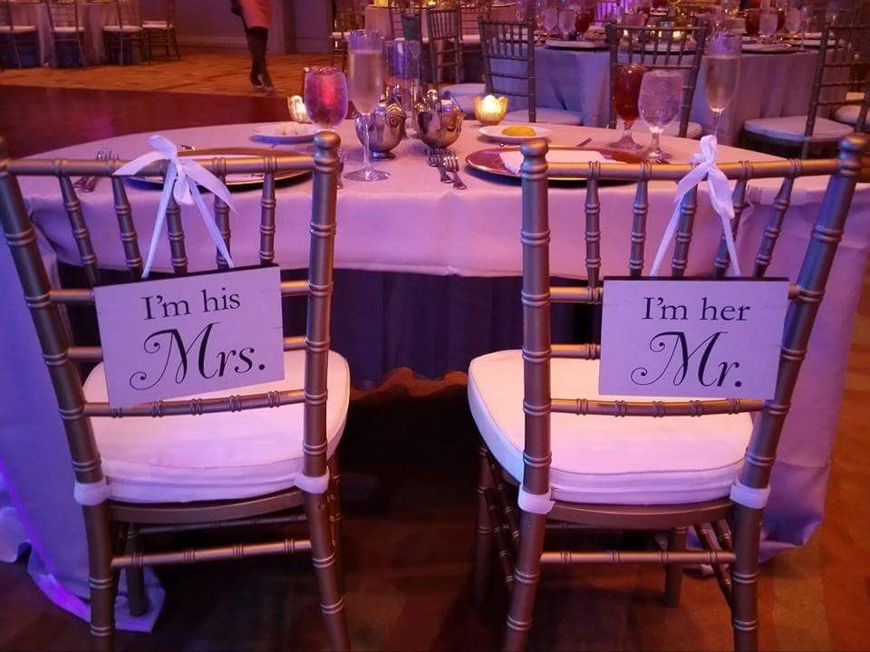 Cute Mr & Mrs Signs for Reception chairs- Days Remembered by ND