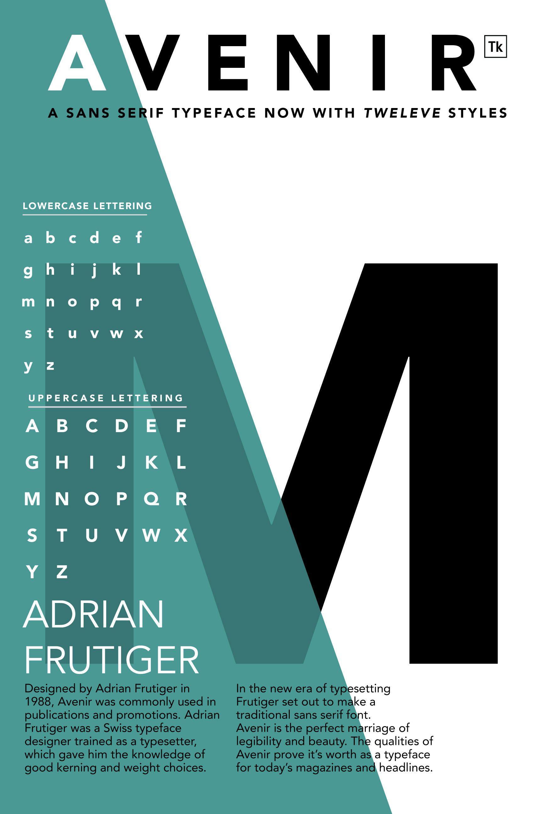 Type Specimen Poster Avenir Emily Gorski Typeface Poster Typographic Poster Typography Poster Design